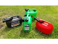 4x 5l Fuel Cans (5 litre plastic fuel/petrol/diesel containers)