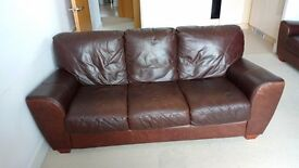 Sofa - Brown Leather 3 seater
