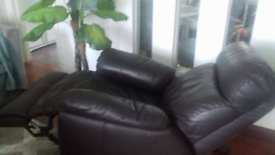 Brown leather reclining chair, good condition