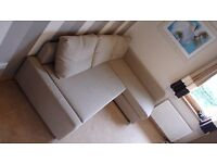 DELIVERY AVAILABLE IKEA FRIHETEN Corner SOFA Pull Out Bed Textile Fabric Beige Light Chocolate Brown