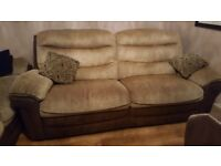 Two Dfs sofas manual recliner