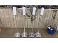 Speakers, silver, slim, stereo, surround speakers, metal stands, silver speaker stands, 4 x speakers