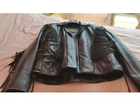 Mens JTS Biker Leather Jacket with Tassels