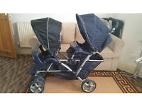 Double Buggy Stroller Pram Pushchair - Boys Girls Twins VGC Quick Release Up & Down Raincover