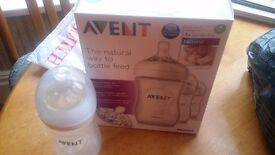 3 avent 260ml/9oz baby feeding bottles