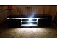 TV unit with LED lights black high gloss