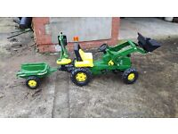 John Deere Tractor with lights, trailer and digger attachment