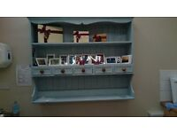 Wall hanging shabby chic shelf unit with drawers