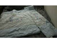 Boys blue and white reversible cot bed bumper and quilt