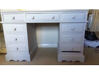 Painted Solid Pine 9 draw desk / dressing table