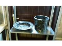 Black speckled plant pot and matching fruit bowl