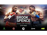 KELL BROOK v ERROL SPENCE - FACE VALUE FLOOR TICKETS IN PAIRS SEATED TOGETHER. EXCELLENT SEATS