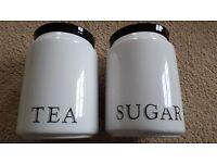 CREAM & BLACK CERAMIC TEA & SUGAR CANISTERS - BRAND NEW