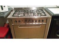 Stainless steel range with extractor fan cooker 90cm long gas on top and electric oven