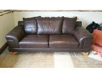 Brown leather soaf