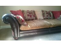 High Quality Brown Leather & Fabric Sofa 3-4 seater