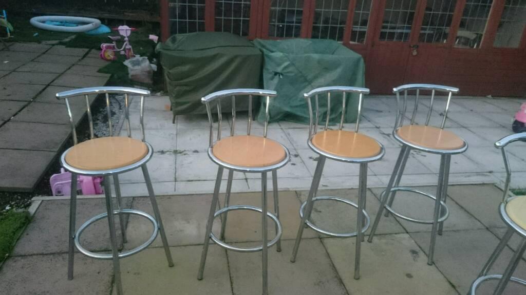 7 chrome and beechwood bar stools