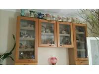 Three Hygena glass cabinets