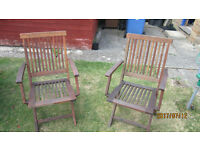 4 wooden folding garden chairs with cushions