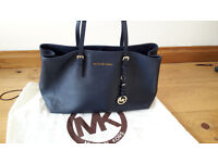 Michael Kors Jet Set Travel Tote Navy Blue Saffiano Leather