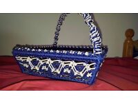 Blue & White Woven Style Basket with handle