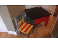 Upcycled playtable/chalkboard/blackboard & chair