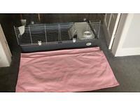Ferplast 120 Guinea Pig Cage and 2x guinea pig fleece liners