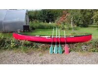 Old Town Discovery 158 3 Seater Canoe with 4 Paddles, Bouyancy Aids and Car Straps
