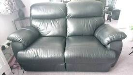 2-seater black leather powered-recliner sofa