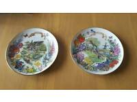 Pair of decorative gardens of beauty plates