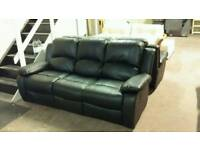 New black 3 seater leather recliner