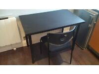 small desk or table or bench with padded chair can deliver