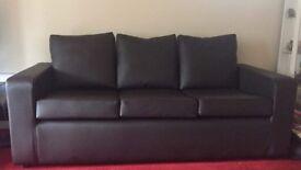 3 seater dark brown sofa
