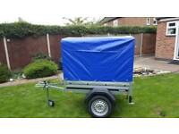 Brenderup 1150s Car trailer with high cover.