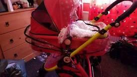 Pink baby pram