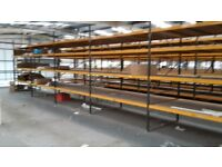 Industrial commercial warehouse racking, shelving 3 continuous bays with wood. 3m tall x 2.2m x 1.5m