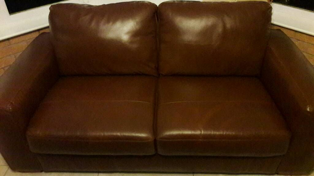 Brown leather 2 seater.