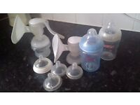 BUNDLE OF WIDE NECK BOTTLES AND X2 BREAST PUMPS