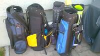 5 golf bags, all in new or good shape - carry and cart bags