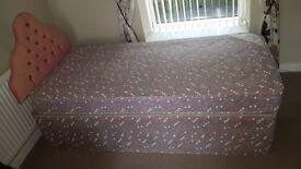 Used single divan bed, mattress and headboard