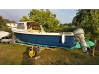 Orkney Strikeliner 16+ boat, mariner 25hp, mariner 3.3hp Aux, good road trailer