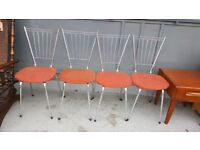 Set Of 4 Vintage Chrome Kicthen / Dining Chairs