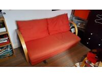 Fold out red foam sofa bed