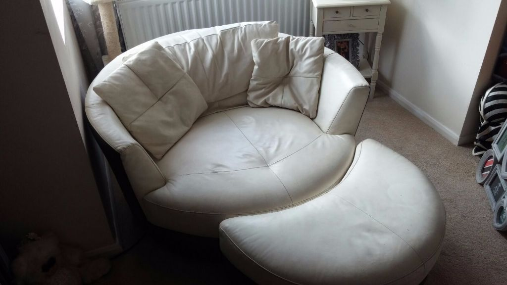 Cream Leather Cuddle Swivel Chair With Half Moon Foot