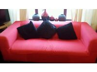 Red Ikea sofa with 2 matching chairs good condition