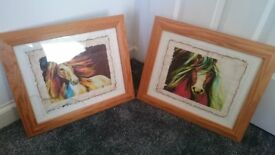 Two framed ink paintings of horses on rice paper