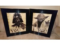 TWO STAR WARS FRAMED LIQUID ARTWORK YODA & DARTH VADER