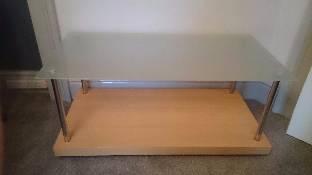 FREE!! Coffee table, wood and glass, good condition.