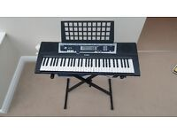Yamaha YPT-210 Electric Piano Keyboard and Stagg KSX Height Adjustable Stand