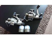 "x3 Fox Warrior S carp rods, x2 Shimano Aero GTE 8000 and Fox Warrior S 42"" Landing net"